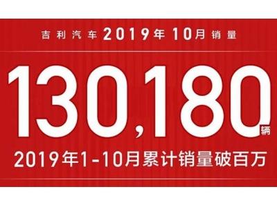 1-10月总销量1,088,290辆 吉利汽车连续3年销量超百万辆